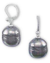 Majorica - 12mm Grey Baroque Pearl & Sterling Silver Leverback Earrings - Lyst