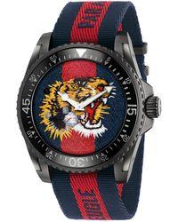 154101798d1 Lyst - Gucci Men s Swiss G-timeless Black Striped Nylon Nato Strap ...