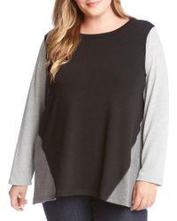 Karen Kane - Plus Roundneck Colorblock Sweater - Lyst