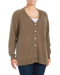 Lord & Taylor - Plus Heathered Cashmere Cardigan - Lyst