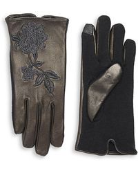 Lauren by Ralph Lauren - Floral Embroidered Wool-blend Gloves - Lyst