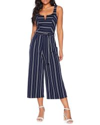 Quiz Striped Self-tie Jumpsuit