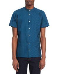 Calvin Klein - Mixed-grid Mandarin-collar Shirt - Lyst