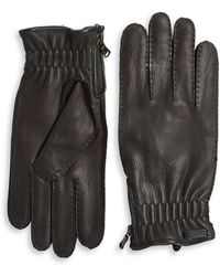 John Varvatos - Stitch Leather Gloves - Lyst