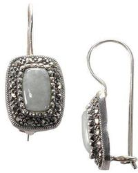 Lord & Taylor - Sterling Silver And Marcasite Rectangle Earrings - Lyst