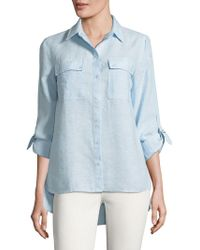Jones New York - Hi-lo Linen Button-down Shirt - Lyst
