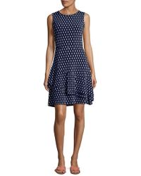 Ivanka Trump - Printed Sleeveless Fit-and-flare Dress - Lyst