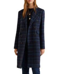Mango - Structured Checkered Coat - Lyst