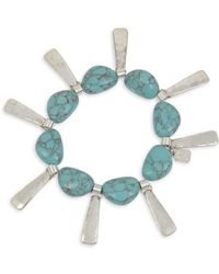 Robert Lee Morris - Turks & Beads Silvertone And Turquoise Geometric Shaky Stick Stretch Bracelet - Lyst