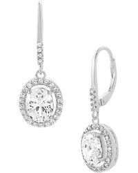 Lord & Taylor - Oval Shaped Simulated 925 Sterling Silver & Crystal Halo Drop Earrings - Lyst