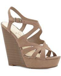Jessica Simpson - Brissah Caged Leather Wedge Platform Sandals - Lyst