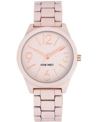 Nine West - Pink Dial Analog Rubber Bracelet Watch - Lyst
