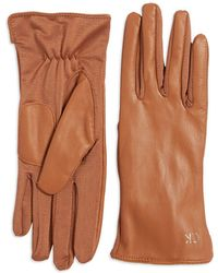 Calvin Klein - Tonal Leather Back Gloves - Lyst