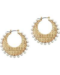 Sole Society - Burnished Goldtone & Faux Pearl Hoop Earrings - Lyst