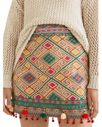 Mango - Embroidered Geometric Cotton Mini Skirt - Lyst
