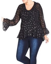 City Chic - Plus Sheer Bell Sleeve Dove Blouse - Lyst