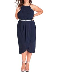 City Chic - Wrap Love Dress - Navy - Lyst