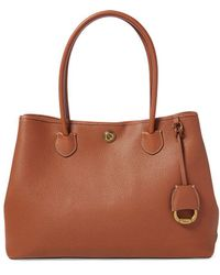 Lauren by Ralph Lauren - Brown Leather Tote Bag With Press Studs On The Sides - Lyst