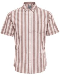 Only & Sons - Striped Cotton Poplin Button-down Shirt - Lyst