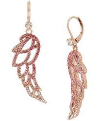 Betsey Johnson - Rose Gold-tone Pavé Angel Wing Drop Earrings - Lyst