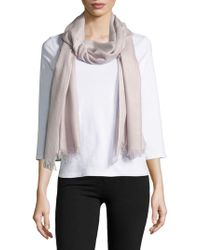Lord & Taylor - Fringe Accented Wrap Scarf - Lyst