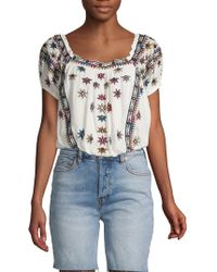 Free People Aurura Embroidered Top
