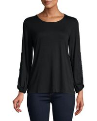 Lord & Taylor - Drawstring-sleeve Heathered Top - Lyst