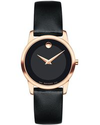 Movado Museum Classic Rose-goldtone & Black Leather Strap Watch