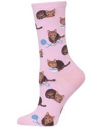 Hot Sox - Novelty Cat And Yarn Crew Socks - Lyst