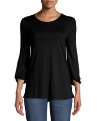 Lord & Taylor - Roundneck Knotted Top - Lyst