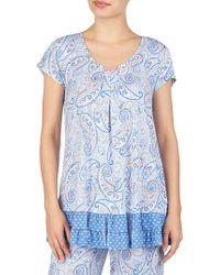 Ellen Tracy - Printed Short-sleeve Pyjama Top - Lyst