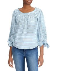 Lauren by Ralph Lauren - Stripe Jersey Off-the-shoulder Top - Lyst