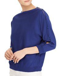 Lauren by Ralph Lauren - Button-sleeve Cotton Top - Lyst