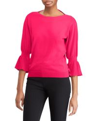 Lauren by Ralph Lauren - Ruffled-cuff Boatneck Sweater - Lyst