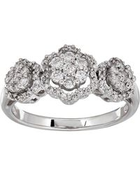Lord + Taylor - 14k White Gold & Diamond Tri-floral Ring - Lyst