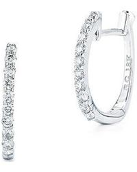 Roberto Coin - Diamond And 18k White Gold Hoops - Lyst