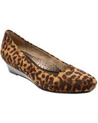 Trotters - Lauren Leopard Print Leather Wedge Heel - Lyst
