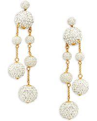 Kate Spade - Goldtone And Glass Stone Asymmetrical Drop Earrings - Lyst
