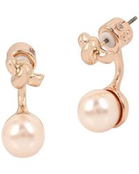 Kenneth Cole - Knots And Pearls Faux Pearl And Crystal Front Back Earrings - Lyst