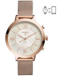 Fossil - Q Jacqueline Rose Gold-tone Stainless Steel Hybrid Smartwatch - Lyst