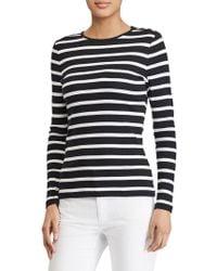 Lauren by Ralph Lauren - Striped Button-shoulder Top - Lyst