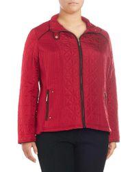 Weatherproof - Plus Contrast-trim Mixed-quilt Jacket - Lyst
