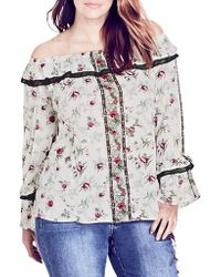 City Chic - Love Story Floral Off The Shoulder Top - Lyst