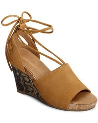 Aerosoles - Spring Plush Suede Wedge Sandals - Lyst