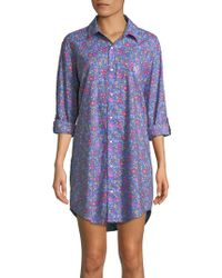 Lauren by Ralph Lauren - Plus Printed Roll-up Sleeve Sleepshirt - Lyst