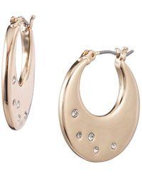 Ak Anne Klein - Goldtone And Glass Stone Flat Hoop Earrings - Lyst