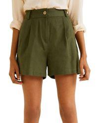 Mango - Pleated Cotton & Linen Shorts - Lyst