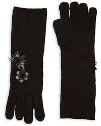 Lauren by Ralph Lauren - Floral Applique Knit Mid-length Gloves - Lyst