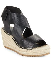 Eileen Fisher - Willow Tumbled Leather Espadrilles Platform Wedge Sandals - Lyst