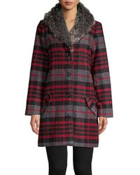 BB Dakota - Faux Fur-trimmed Plaid Coat - Lyst